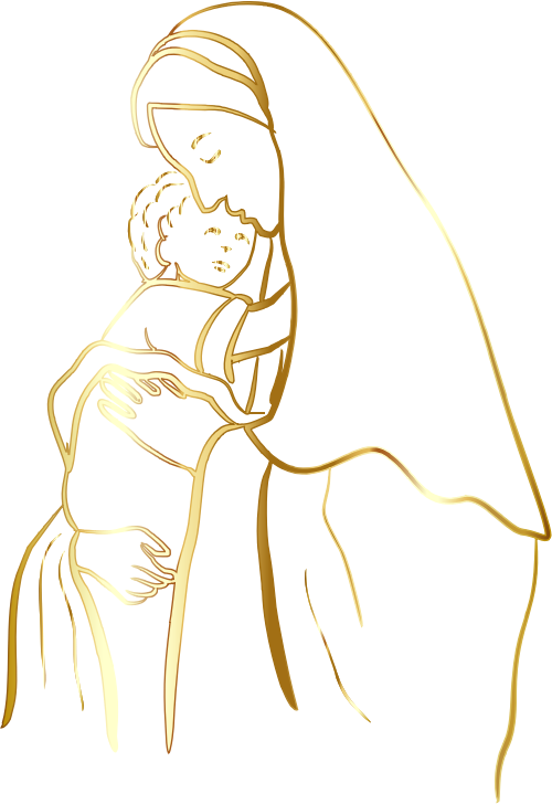 Gold Virgin Mary And Baby Jesus No Background
