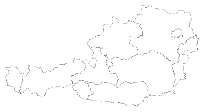 Empty map of Austria with borders of the States