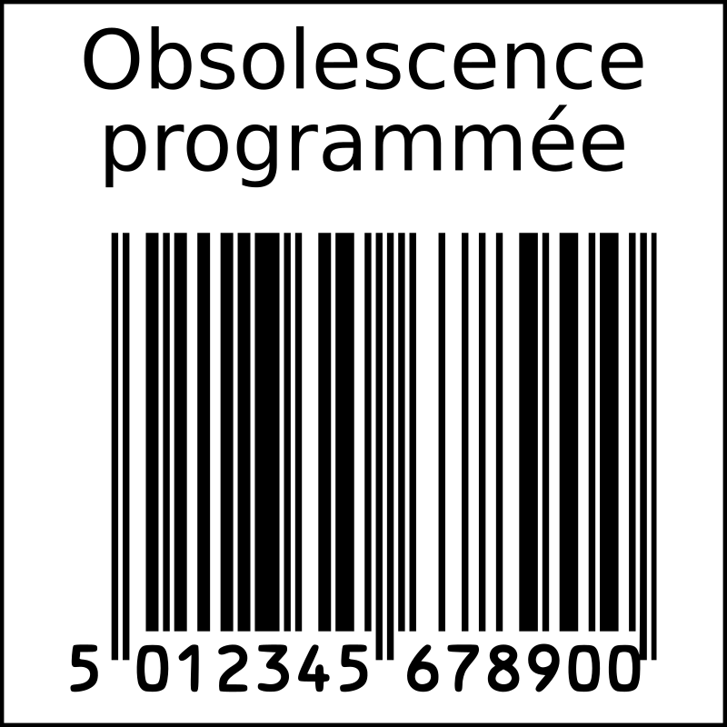 Planned obsolescence barcode in squarre (French)