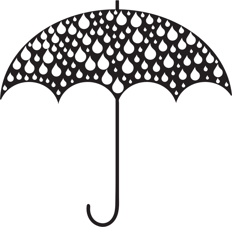 Rain Drops Umbrella Silhouette