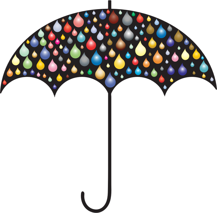 Prismatic Rain Drops Umbrella Silhouette 2