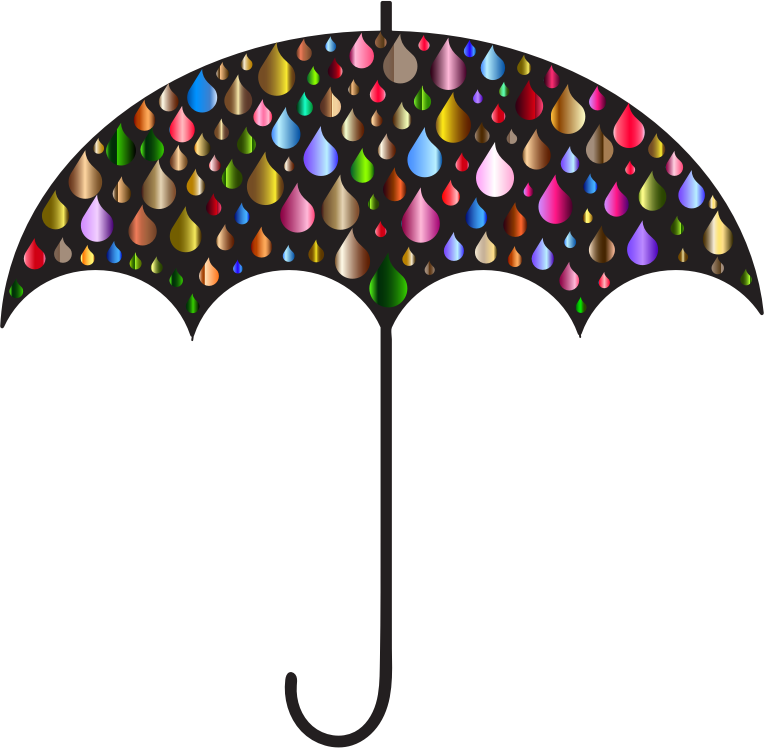 Prismatic Rain Drops Umbrella Silhouette 4