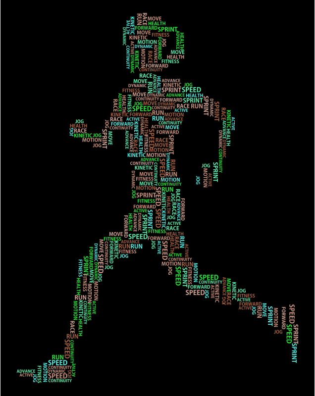 Woman Running Word Cloud Variation 2
