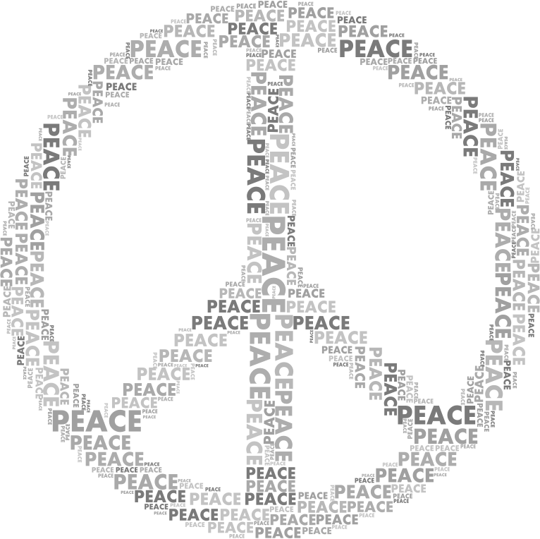 Peace Sign Word Cloud Grayscale