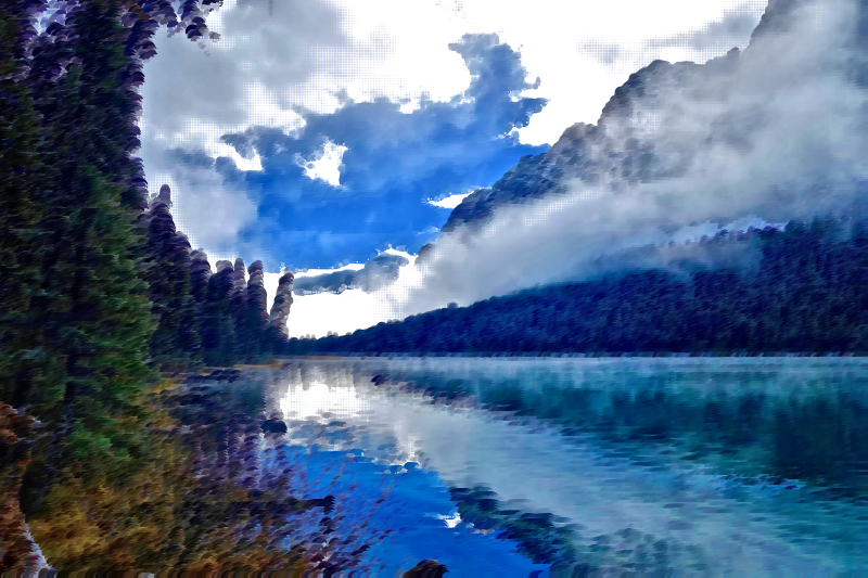 Surreal Foggy Lake