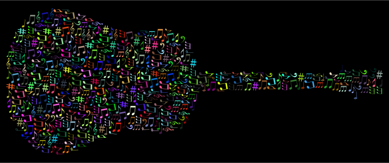 Prismatic Musical Notes Old Fashioned Guitar