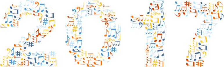 2017 Musical Notes Typography No Background
