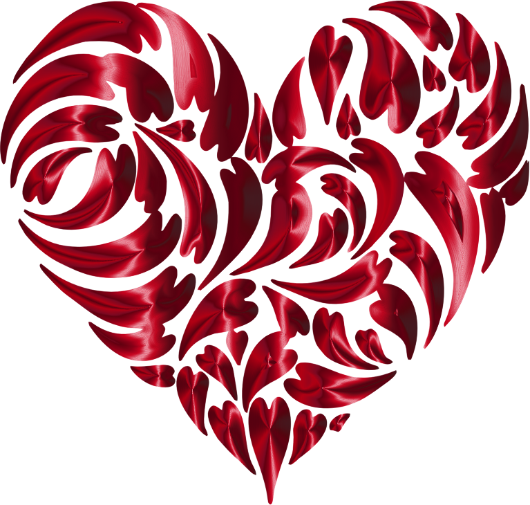 Abstract Distorted Heart Fractal Vermilion No Background