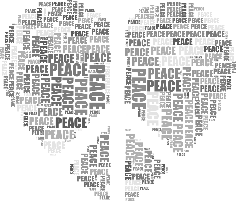 Peace Heart Mark III Word Cloud Grayscale