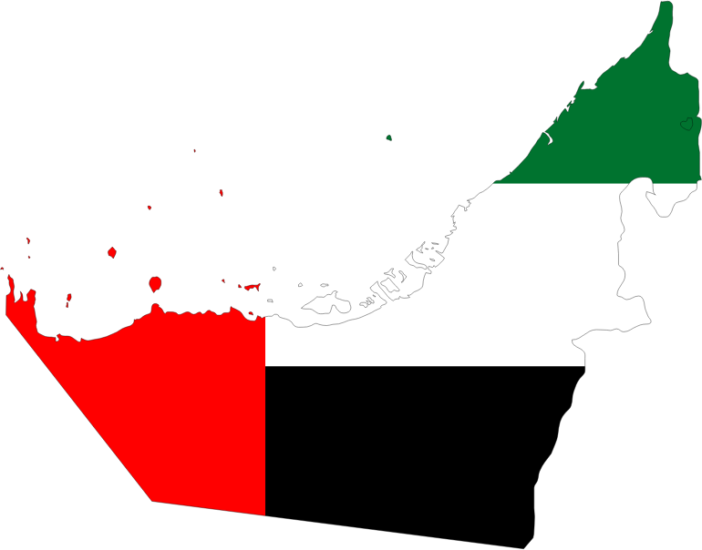 United Arab Emirates Map Flag With Stroke