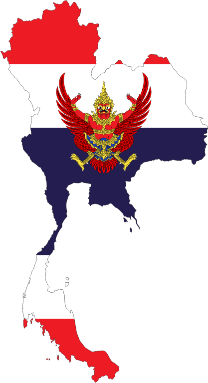 Thailand Map Flag With Stroke And Emblem