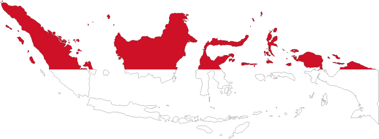 Indonesia Map Flag With Stroke