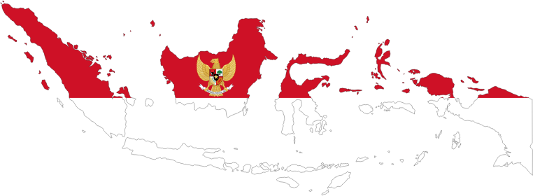 Indonesia Map Flag With Stroke And Coat Of Arms
