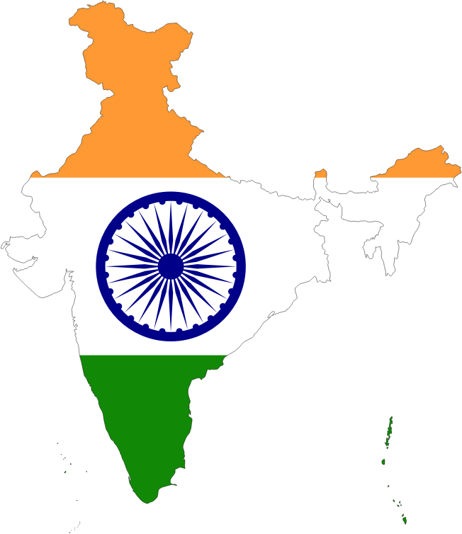 India Map Flag With Stroke