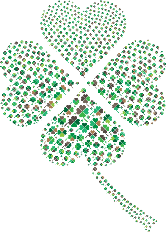 Green Four Leaf Clover Fractal No Background