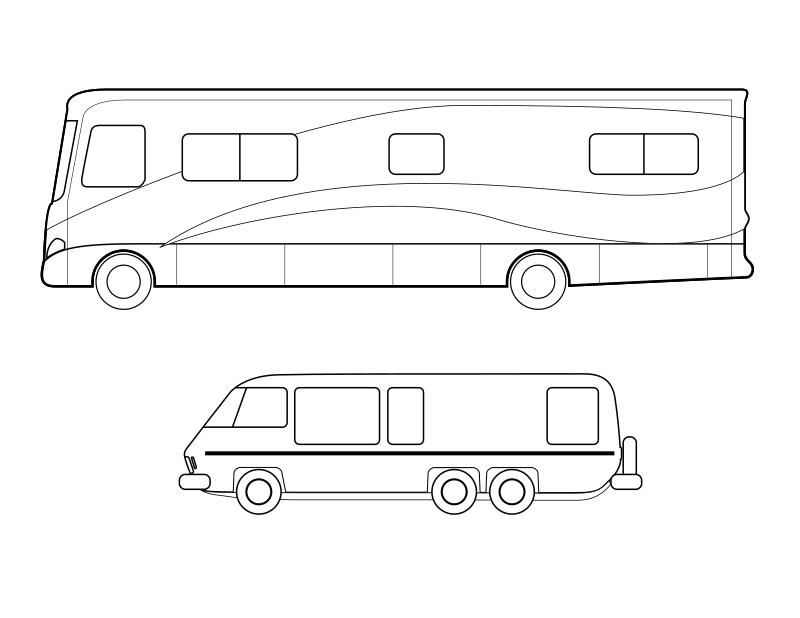 Coloring page of motorhomes