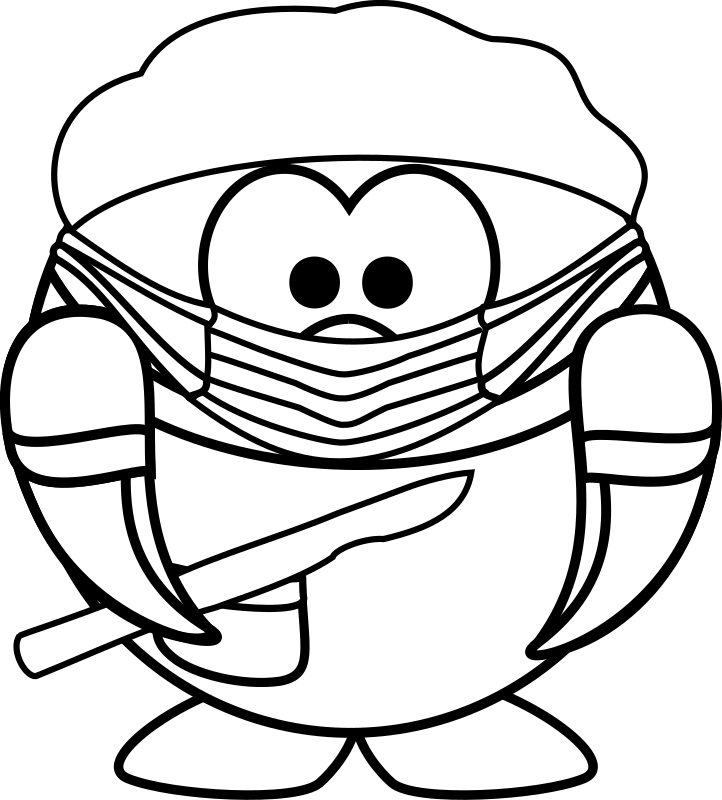 Coloring page of surgeon penguin