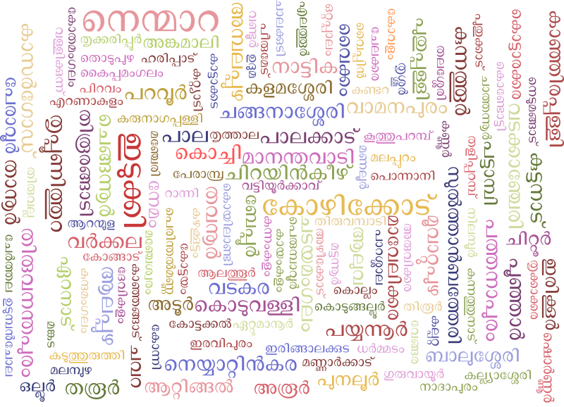 Malayalam Word Cloud using Legislative Assembly constituencies in Kerala