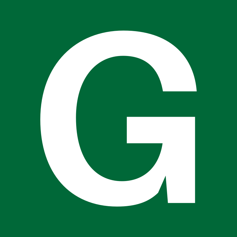 White Letter G on Green Background