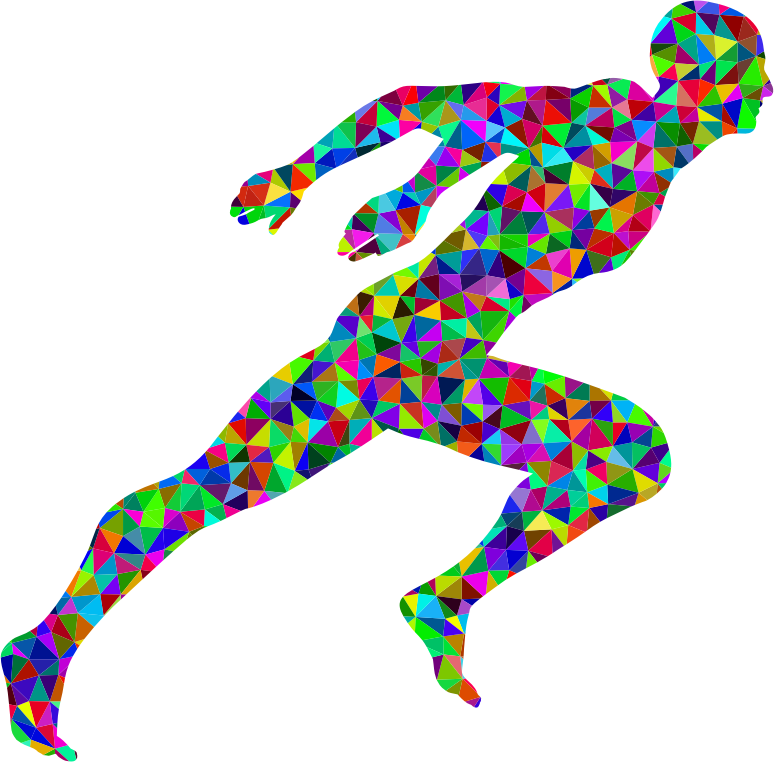 Low Poly Prismatic Sprinting Man