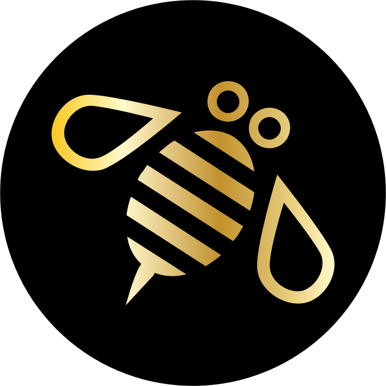 Minimal Bee or Bumblebee in Gold on a Black Circle