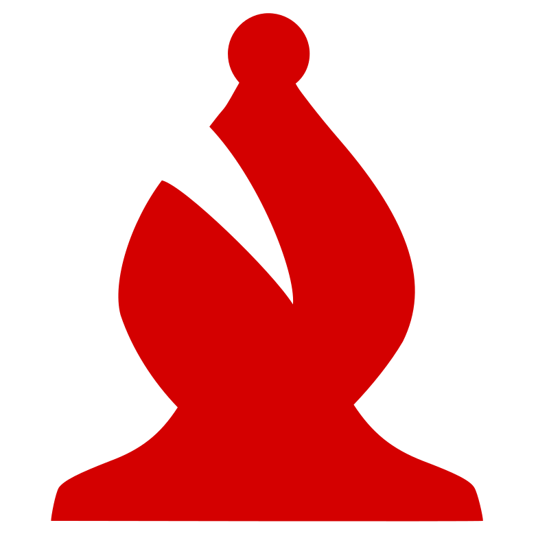 Chess Piece Silhouette - Red Bishop / Alfil Rojo