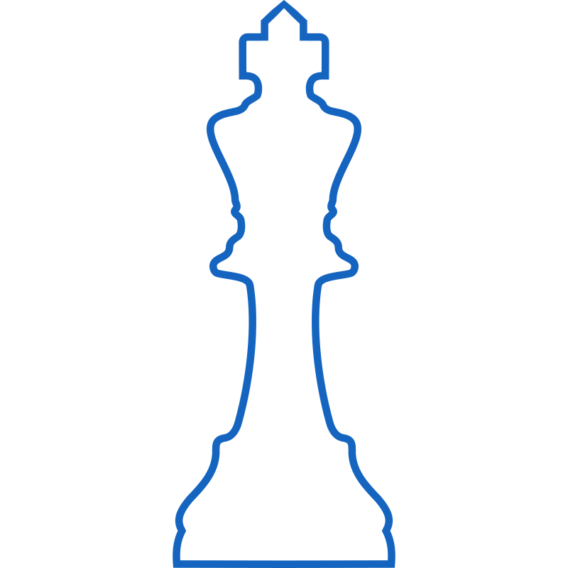 White Silhouette Staunton Chess Piece – King / Rey