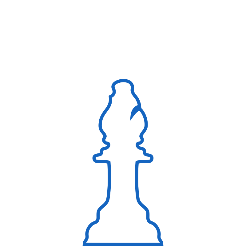 White Silhouette Staunton Chess Piece – Bishop / Alfil