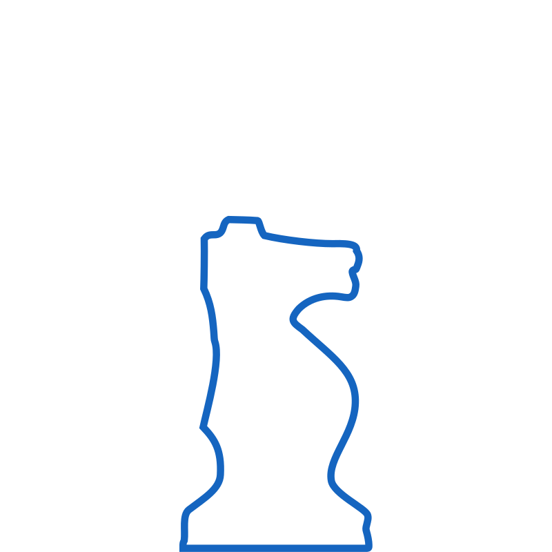 White Silhouette Staunton Chess Piece – Knight / Caballo