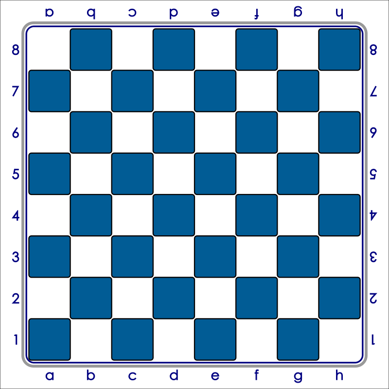 Standard Chess Board - Blue / Tablero de Ajedrez - Azul