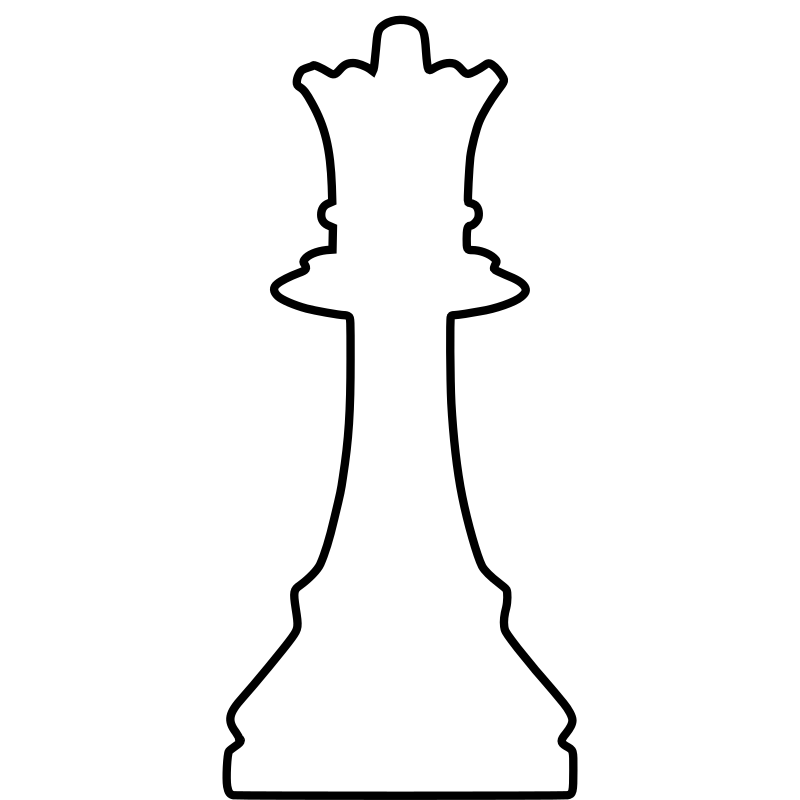 White Silhouette Chess Piece REMIX – Queen / Dama