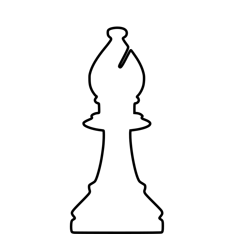 White Silhouette Chess Piece REMIX – Bishop / Alfil