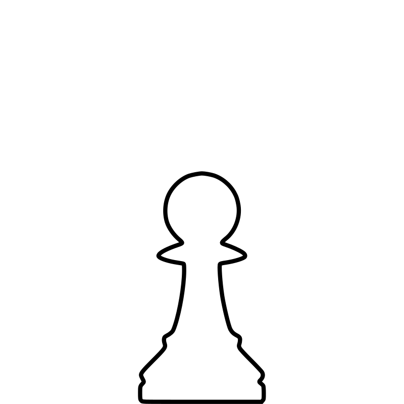 White Silhouette Chess Piece REMIX – Pawn / Peón