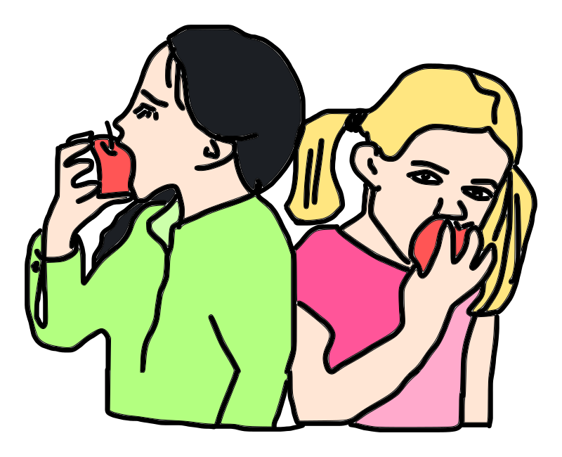Girls are eating apples.