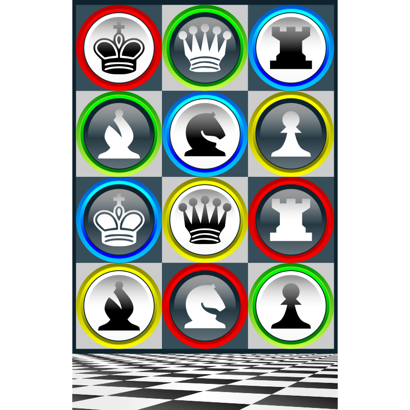 Poster Chess Patterns / Poster Patrones Ajedrez de Colores