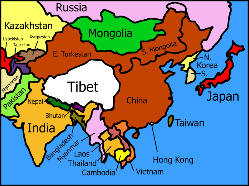 Tibet and its neighbors map