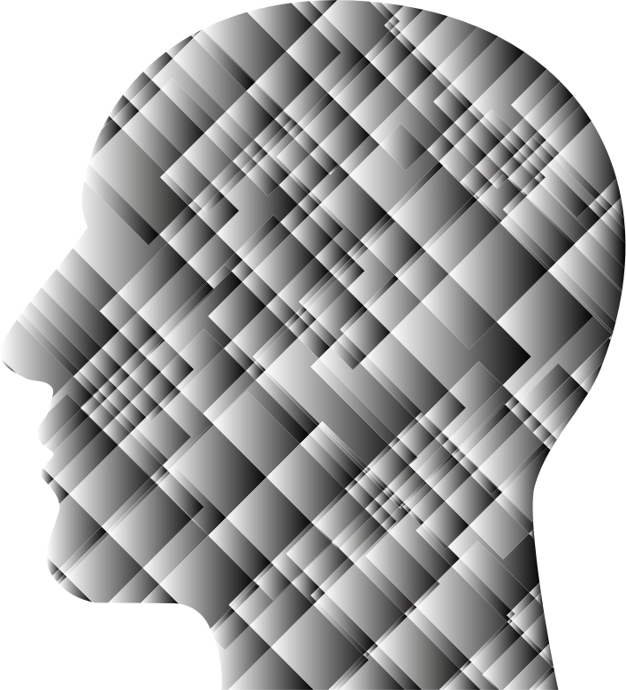 Grayscale Patchwork Man Head