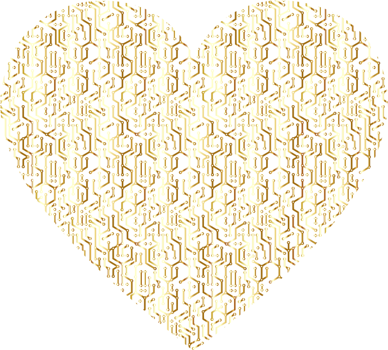 Gold Electronic Heart No Background