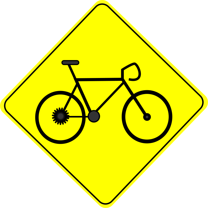 Bike Crossing Caution Road Sign - Free Clipart Icon