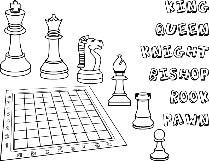 Chess coloring book / Dibujo Ajedrez para colorear -2-