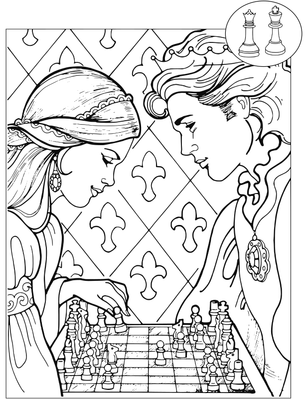 Chess coloring book / Dibujo Ajedrez para colorear -25-