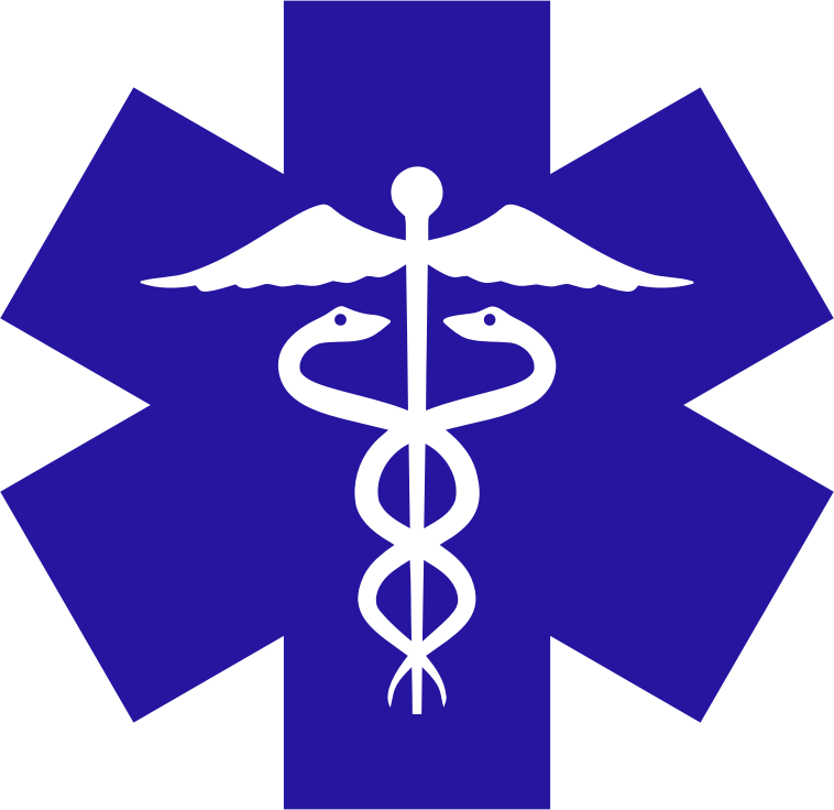 Caduceus On Blue Star Of Life