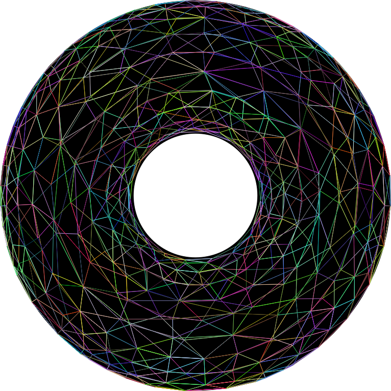 3D Torus Wireframe Prismatic With Background