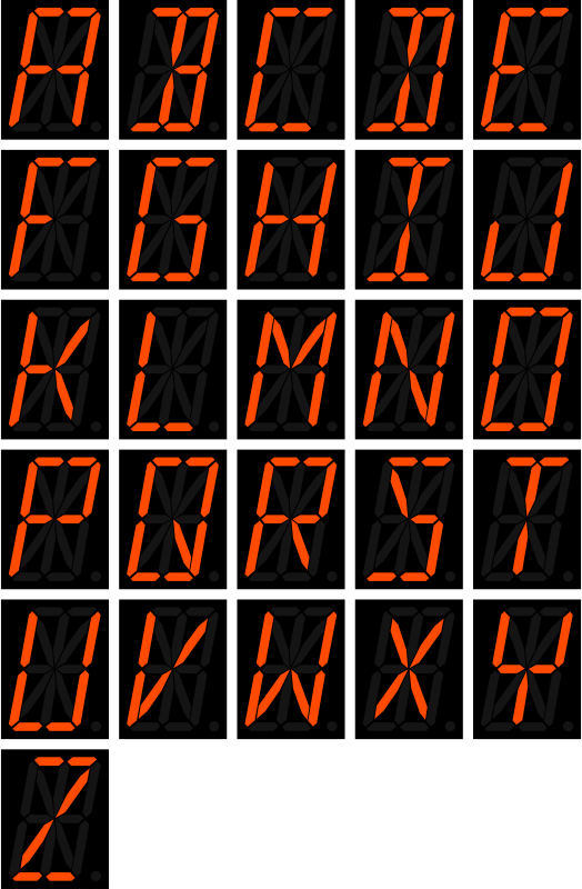 16 segment display - letters