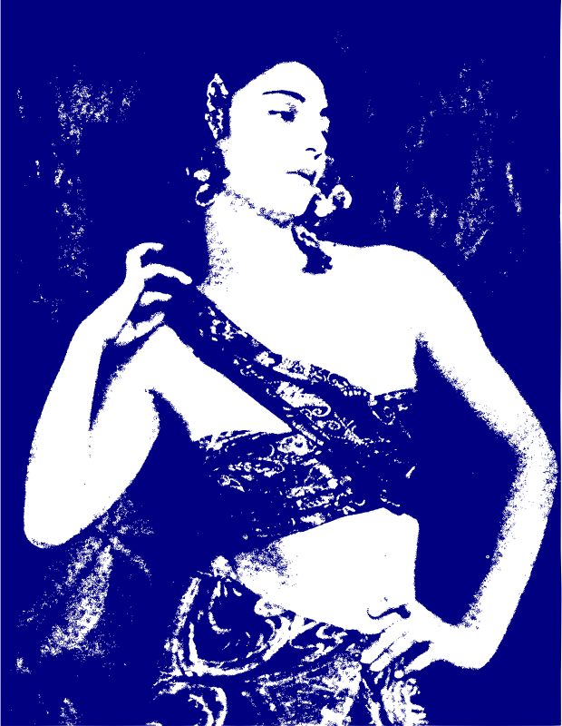 Lady Outline in Blue
