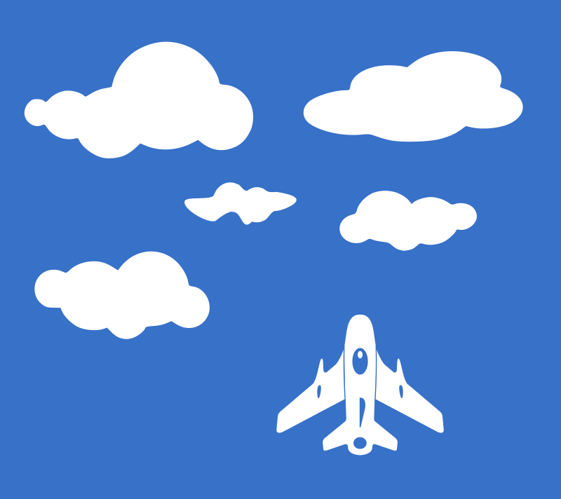 Airplane silhouette with clouds