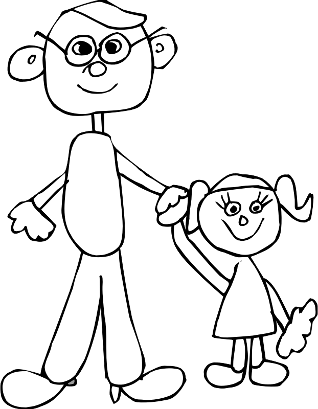 Dad holding daughters hand Animation