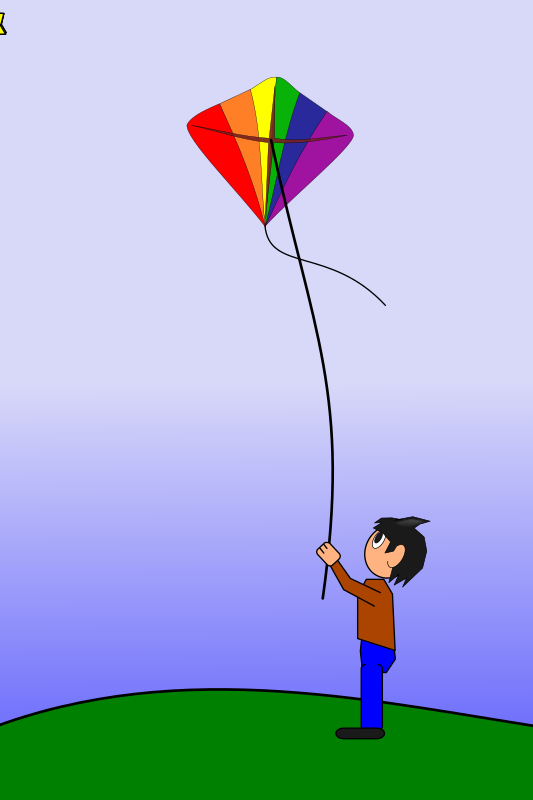 Animation of a Boy Flying a Kite