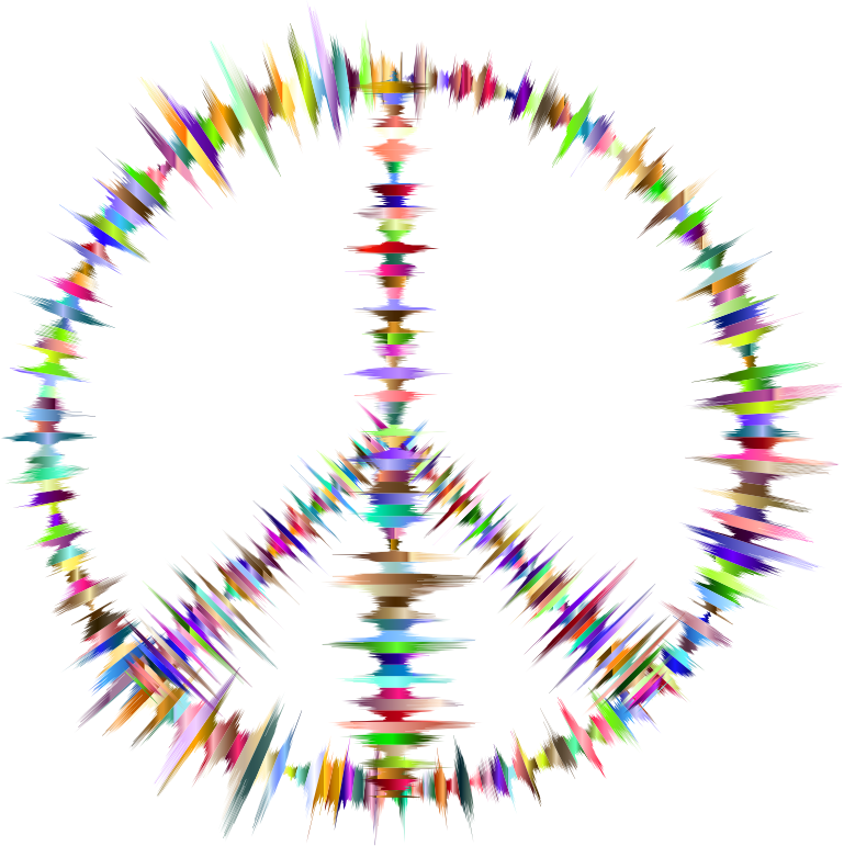 Prismatic Sound Waves Peace Sign
