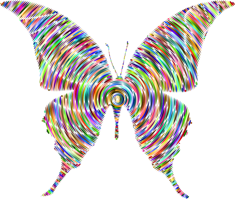 Prismatic Butterfly Silhouette 6 Concentric